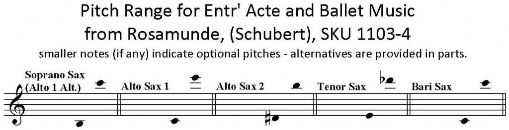 Entr Acte and Ballet Music from Rosamunde by Schubert for Saxophone Quartet SATB or AATB