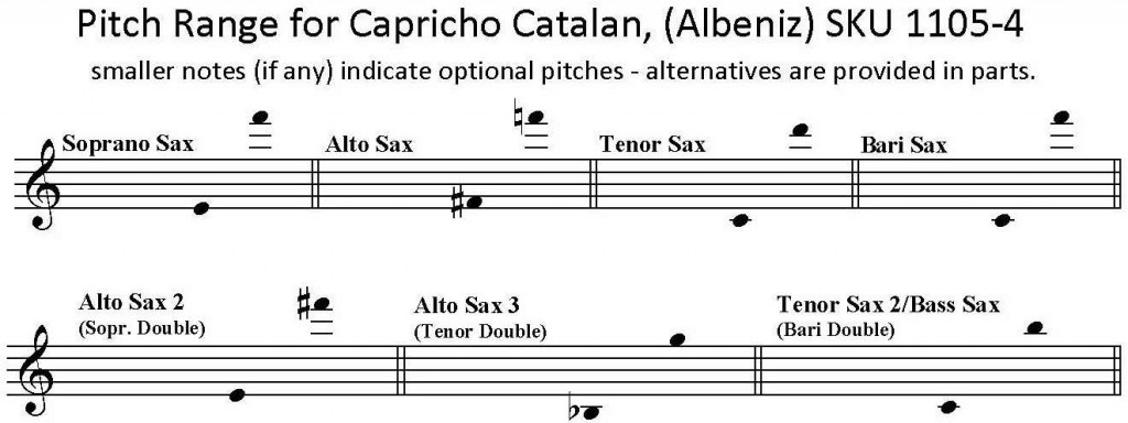 Capricho Catalan by Albeniz for SATB or AATB Saxophone Quartet