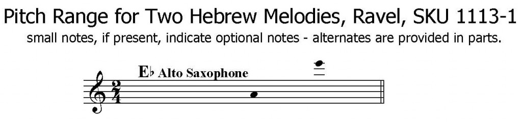 Two Hebrew Melodies by Ravel for Solo Alto Saxophone with piano