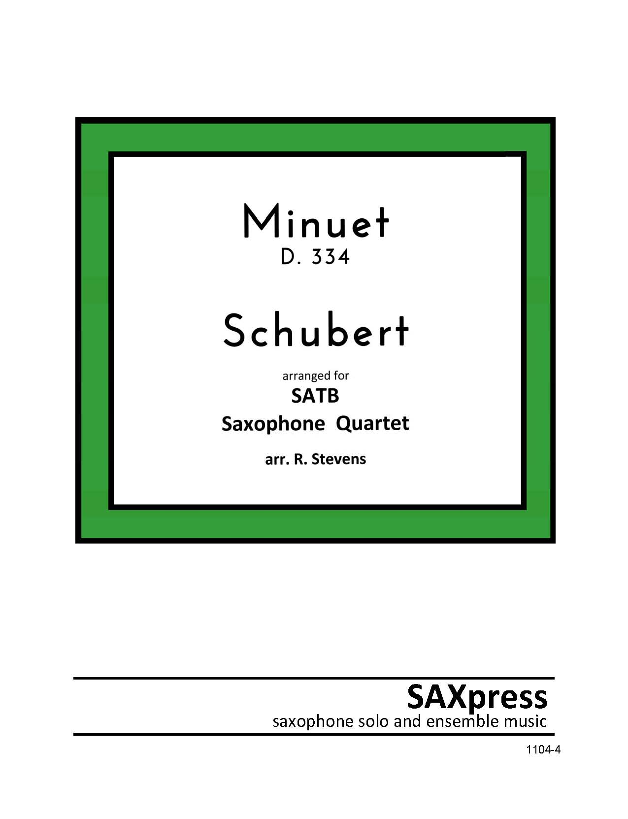 SATB Sax Quartet | Minuet D.334 by Schubert