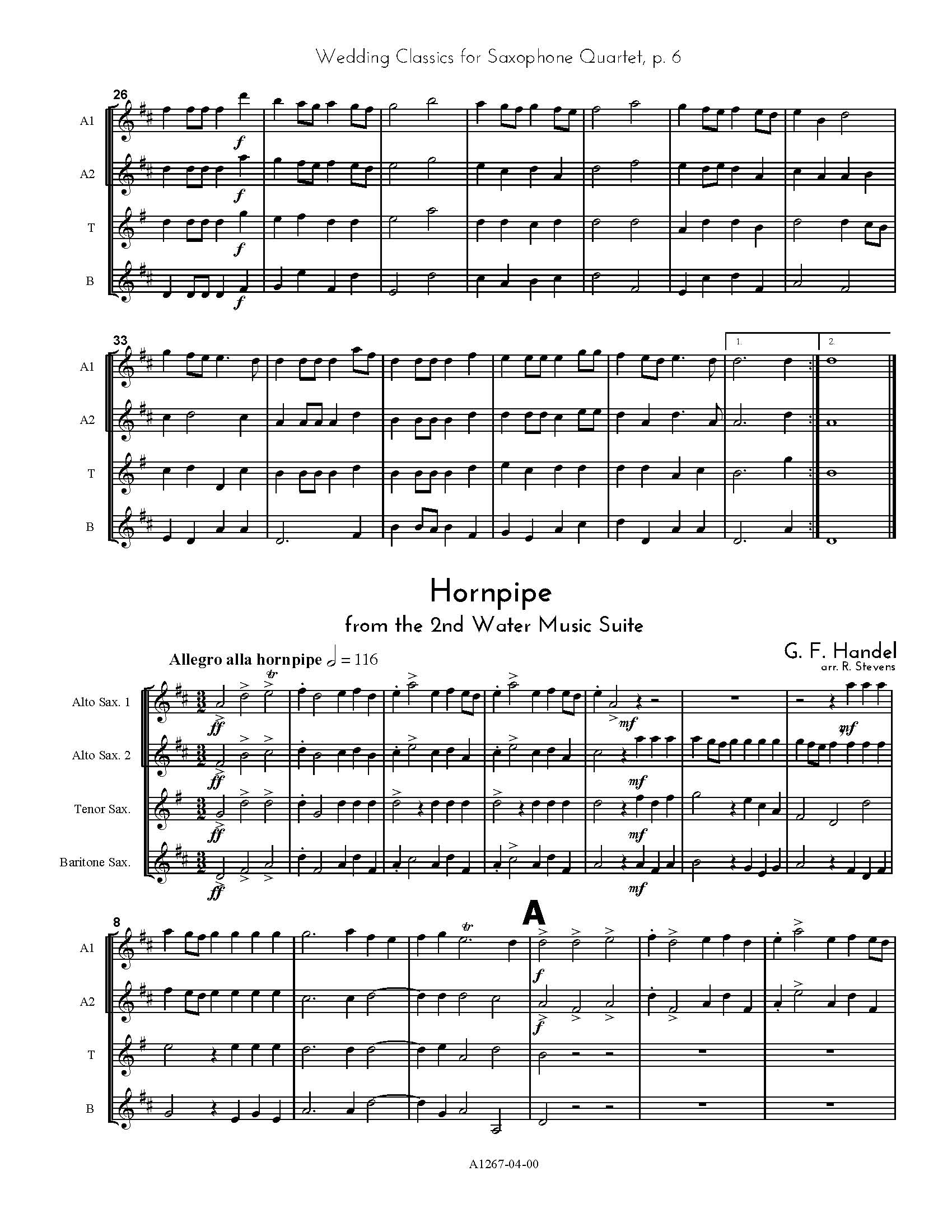 Wedding Classics For Saxophone Quartet