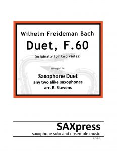 WF Bach Duet, F60 for 2 saxophones