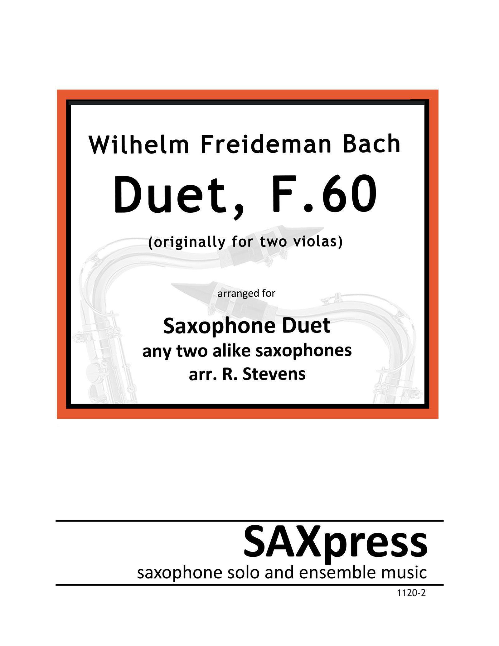 WF Bach Duet, F60 for 2 saxophones