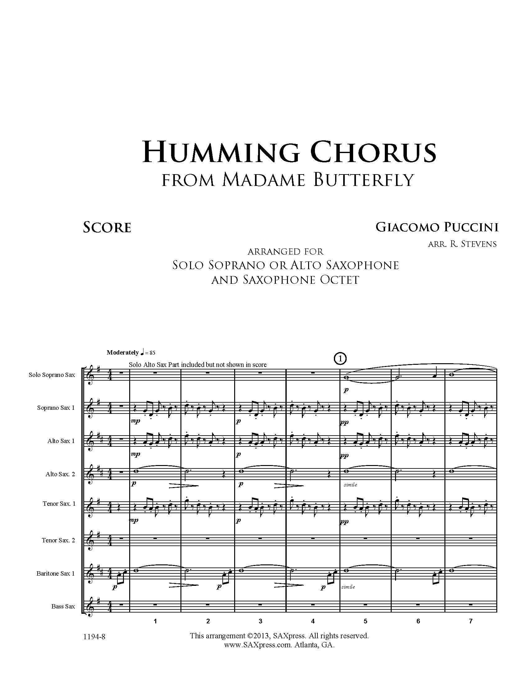 Humming Chorus from Madame Butterfly, Puccini, for Saxophone