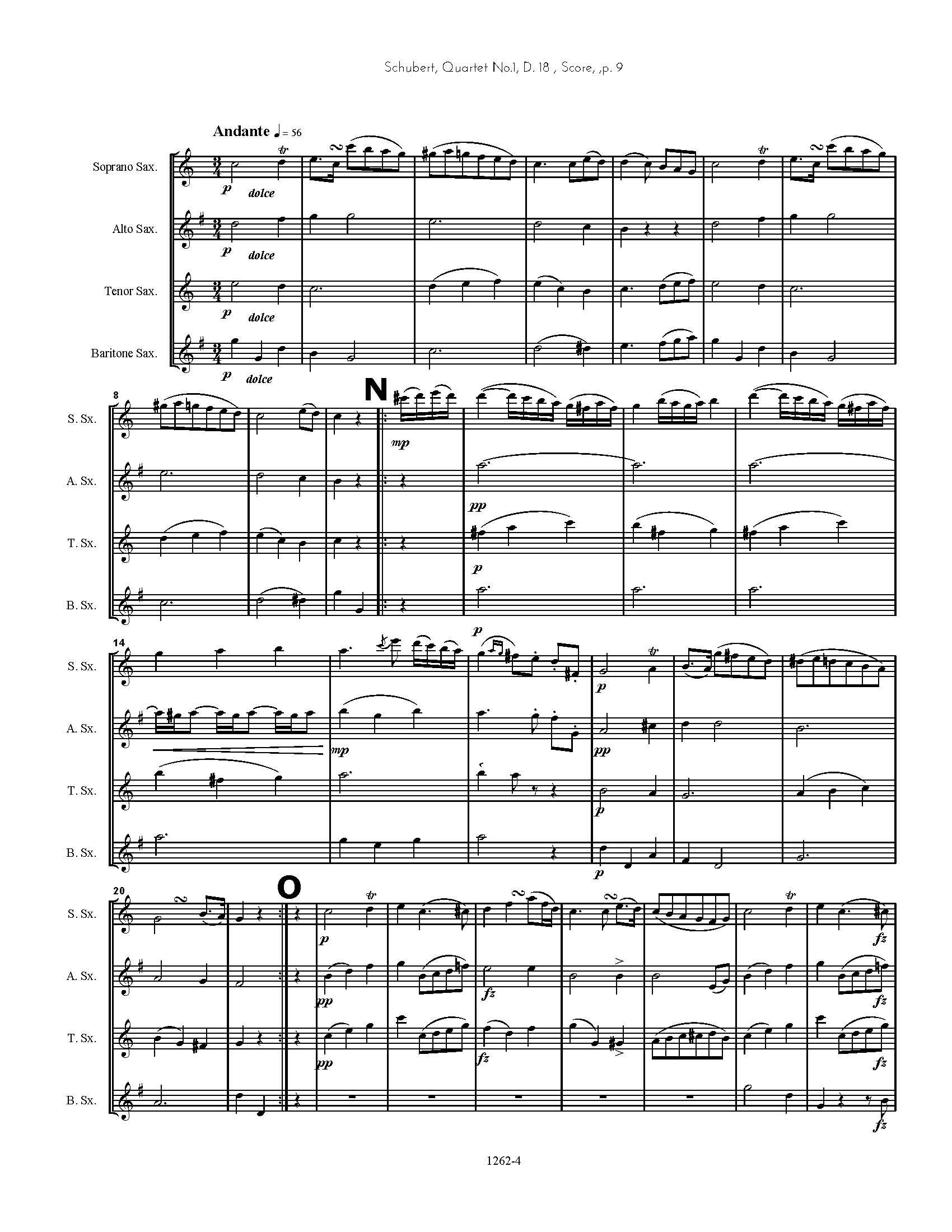 Mendelssohn Excerpt From 1st Movement Für Saxophon Quintet String Quintet Nr.1