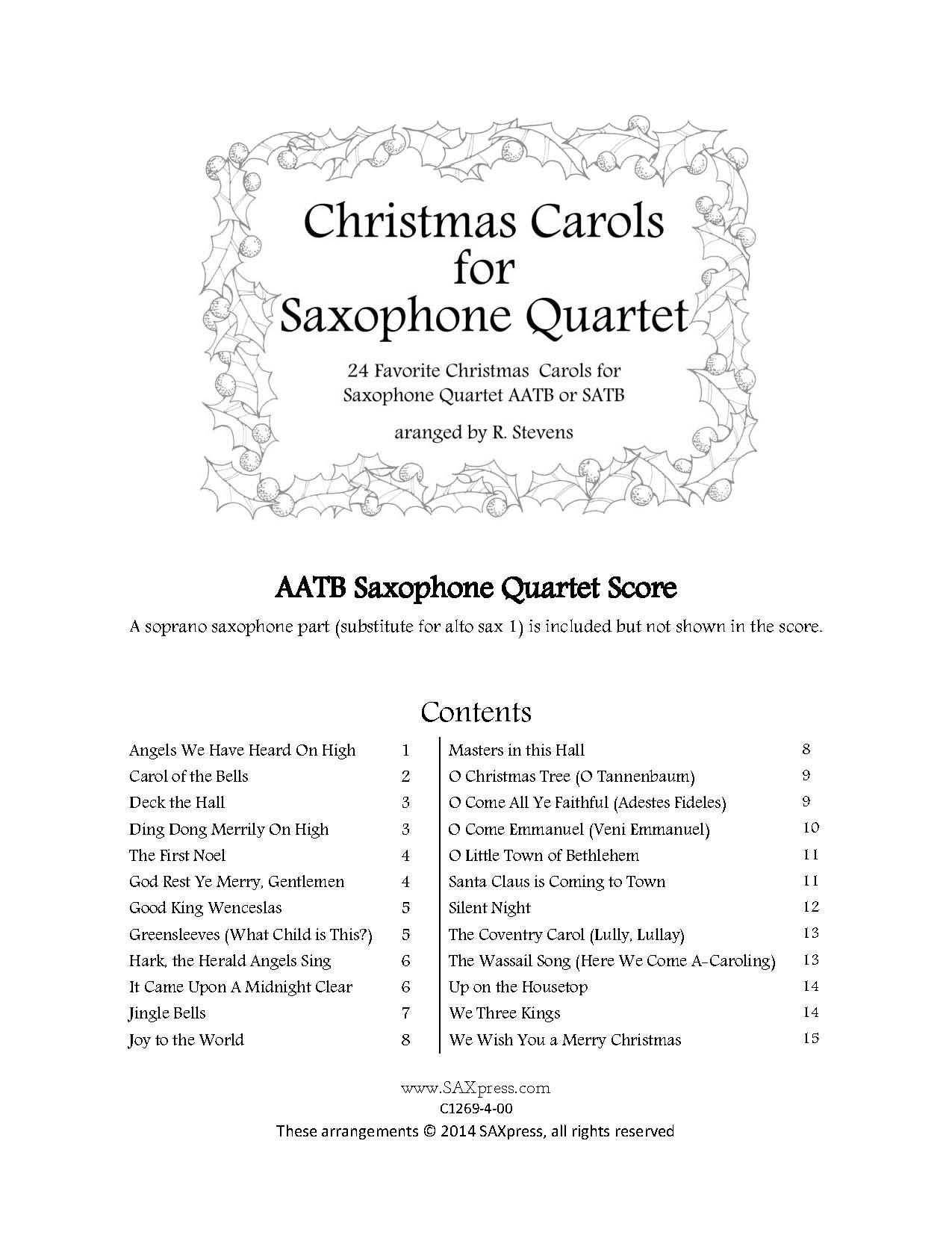 Christmas Carols for Saxophone Quartet, Volume 1 SATB or AATB