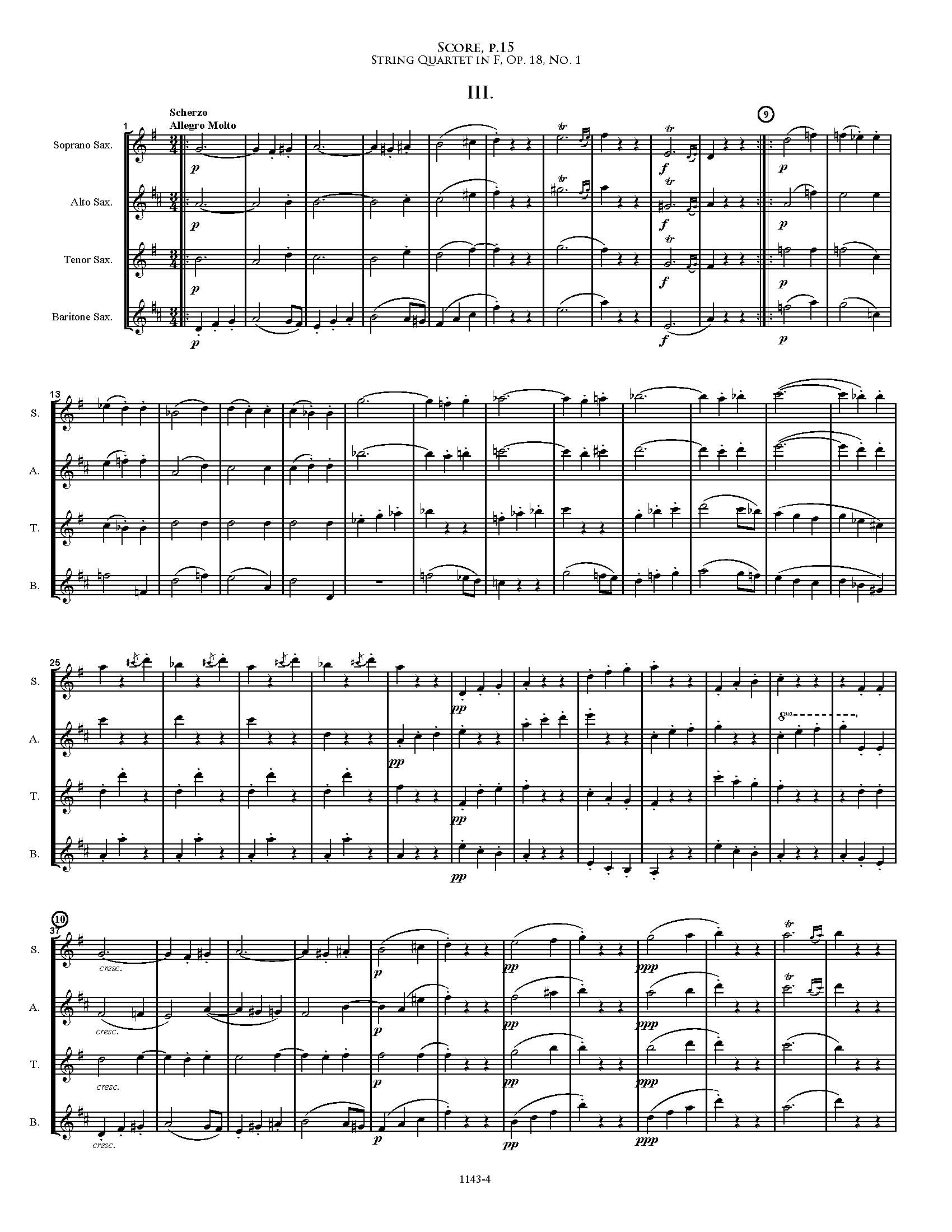 Op. 18, No. 4, Movement 4 - Allegro - Score