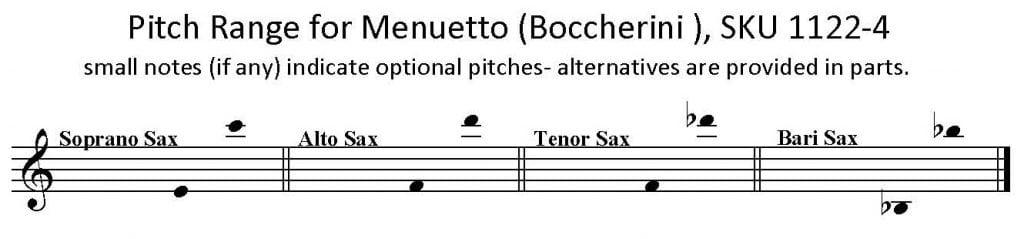 Menuetto by Boccherini for SATB Saxophone Quartet