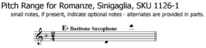 Romanze for Baritone Saxophone Solo with piano by Leone Singaglia