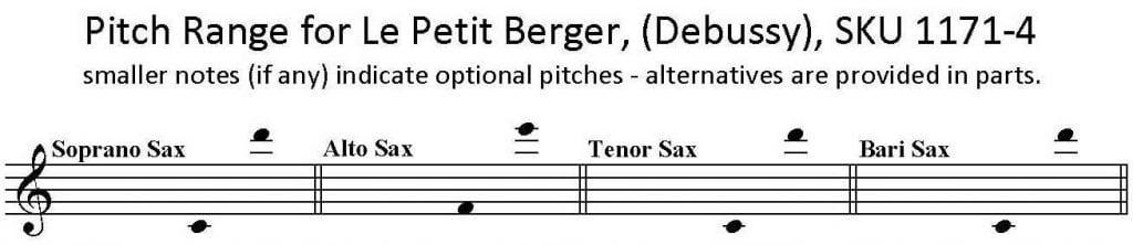 Le Petit Berger by Claude Debussy for SATB Saxophone Quartet.