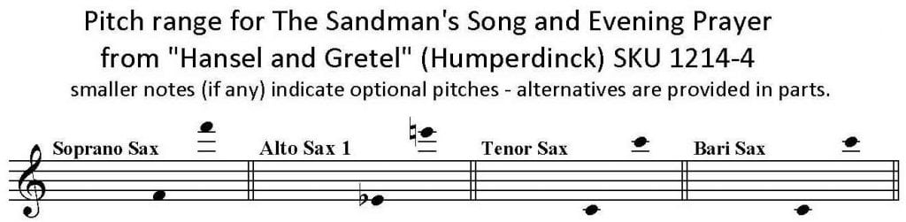 Sandman's Song and Evening Prayer by Humperdinck SATB Sax Quartet