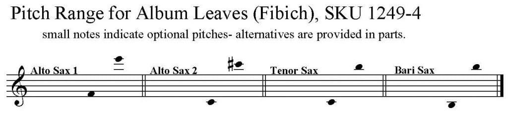 Album Leaves by Fibich arranged for AATB Saxophone Quartet