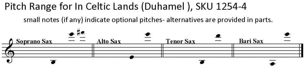 In Celtic Lands by Maurice Duhamel, for SATB Saxophone Quartet