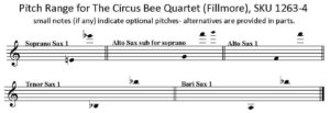 The Circus Bee by Henry Fillmore for Saxophone Quartet S/AATB