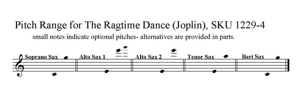 The Ragtime Dance by Scott Joplin for S/AATB Saxophone Quartet