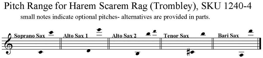 Harem Scarem Rag by Lem Trombley for S/AATB Saxophone Quartet