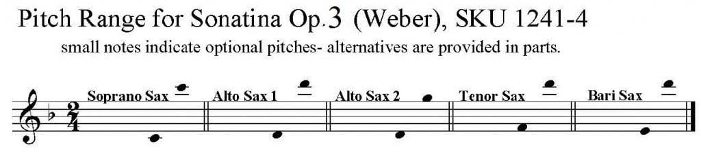 Sonatina, Op. 3, No. 1, by Weber for S/AATB Saxophone Quartet