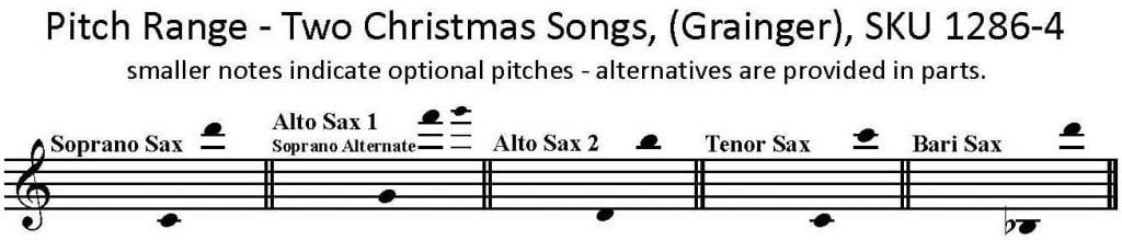 Two Christmas Songs by Grainger for Saxophone Quartet S/AATB