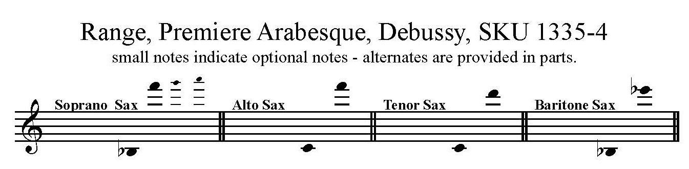 Premiere Arabesque by Claude Debussy for Saxophone Quartet SATB