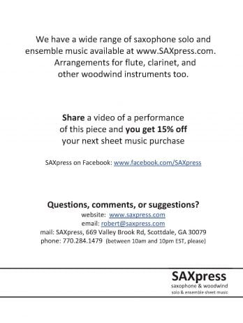 Fantasia In F, K  549 by Mozart, for Saxophone Quintet SAATB