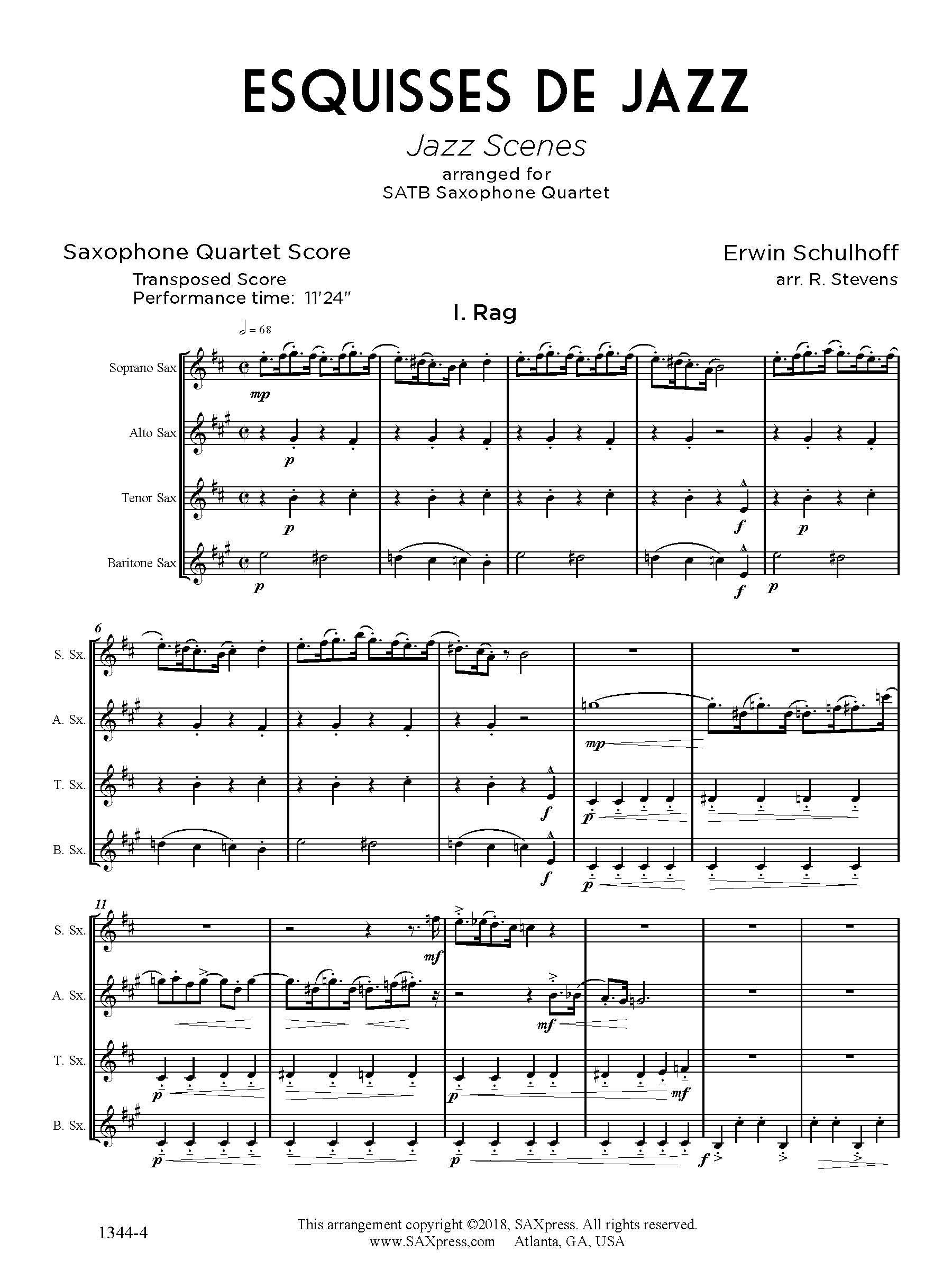 Esquisses de Jazz, by Erwin Schulhoff arranged for SATB sax quartet