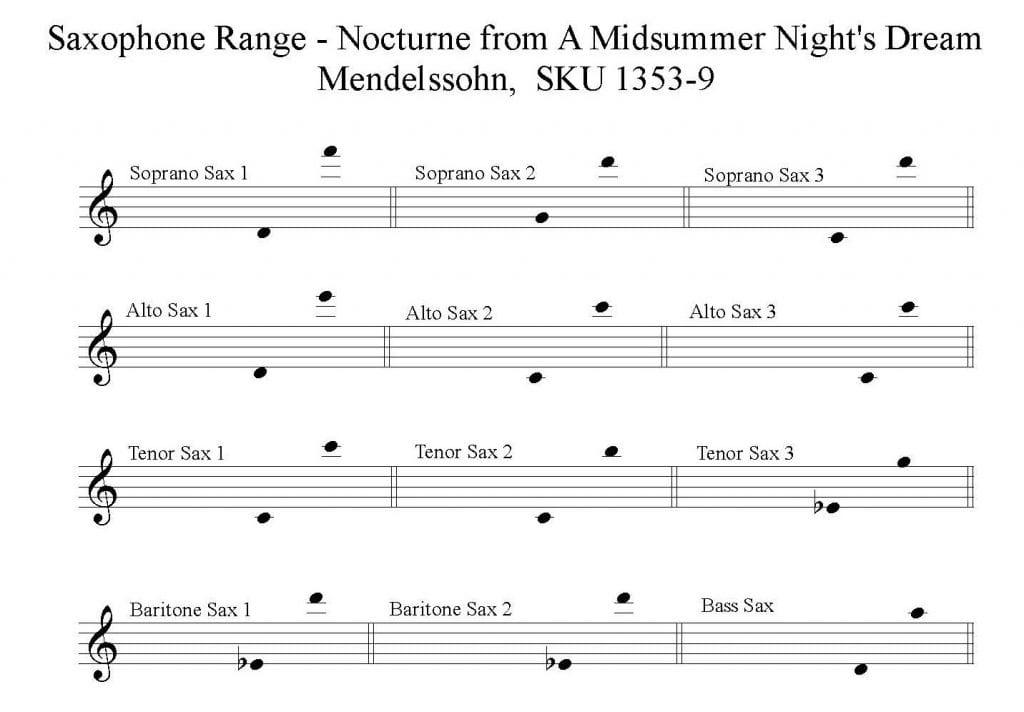 Saxophone Range for Nocturne from A Midsummer Night's Dream, Op. 61 by Felix Mendelssohn, Saxophone Choir