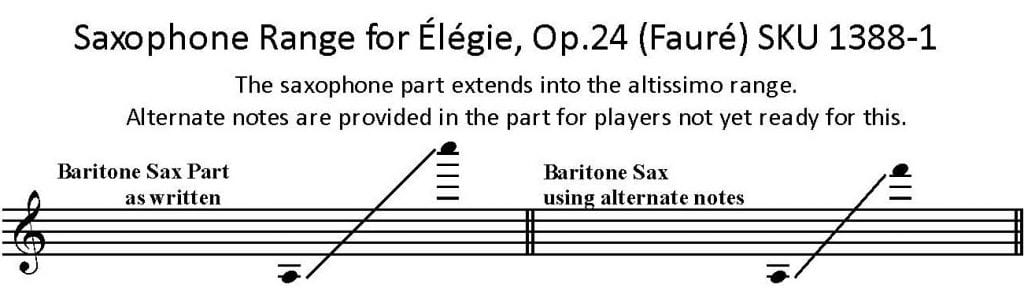 range for bari sax solo part - Elegie by Faure