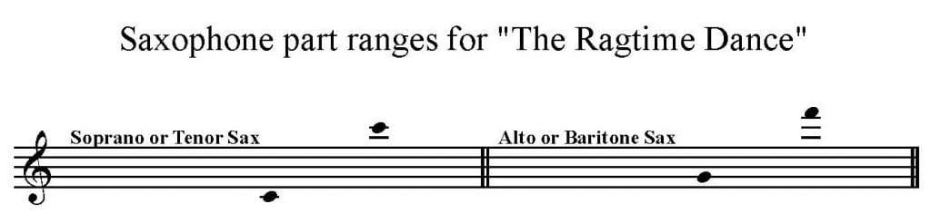 Solo Saxophone Range for The Ragtime Dance by Scott Joplin
